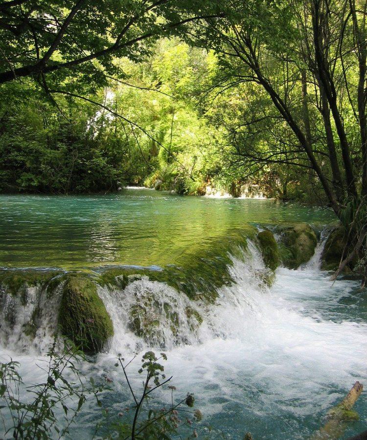 bach, waterfall, water