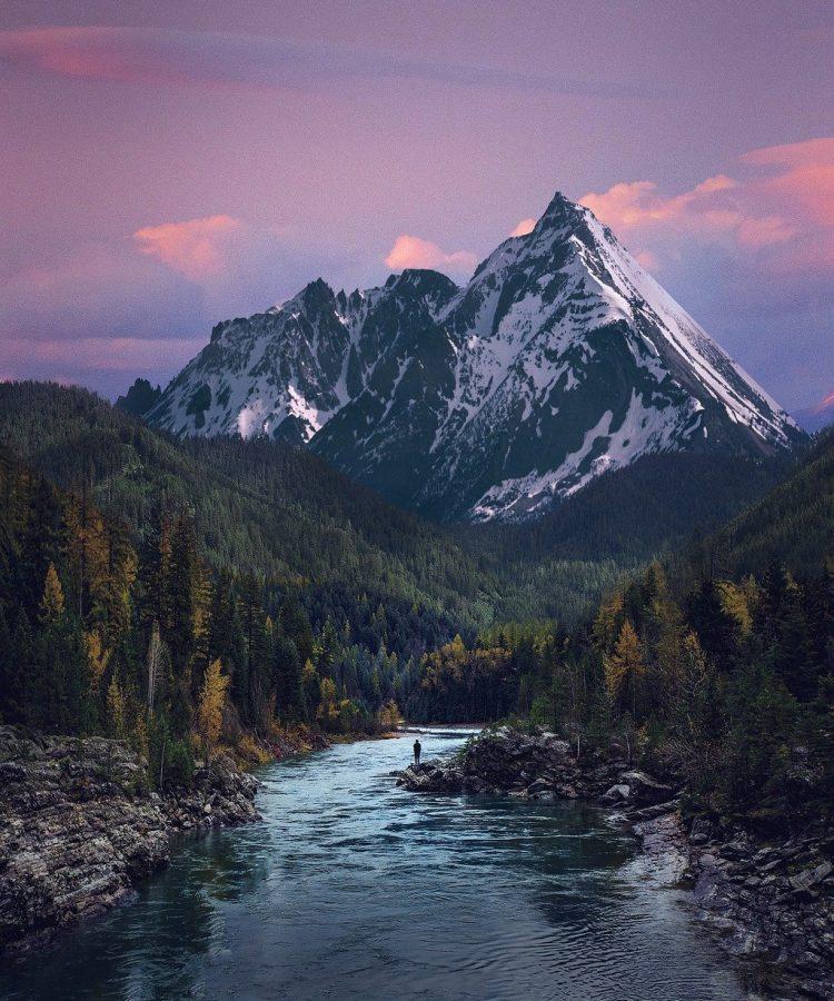 valley, river, mountain