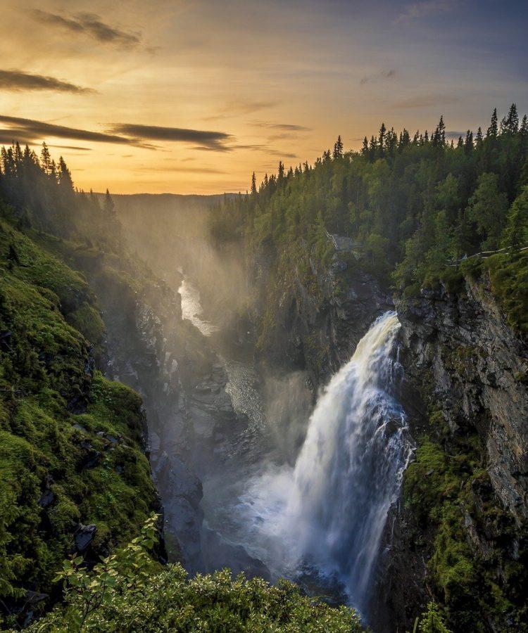 waterfall, sweden, water
